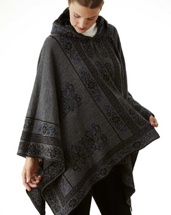Reversible Grays Alpaca Hooded Cape