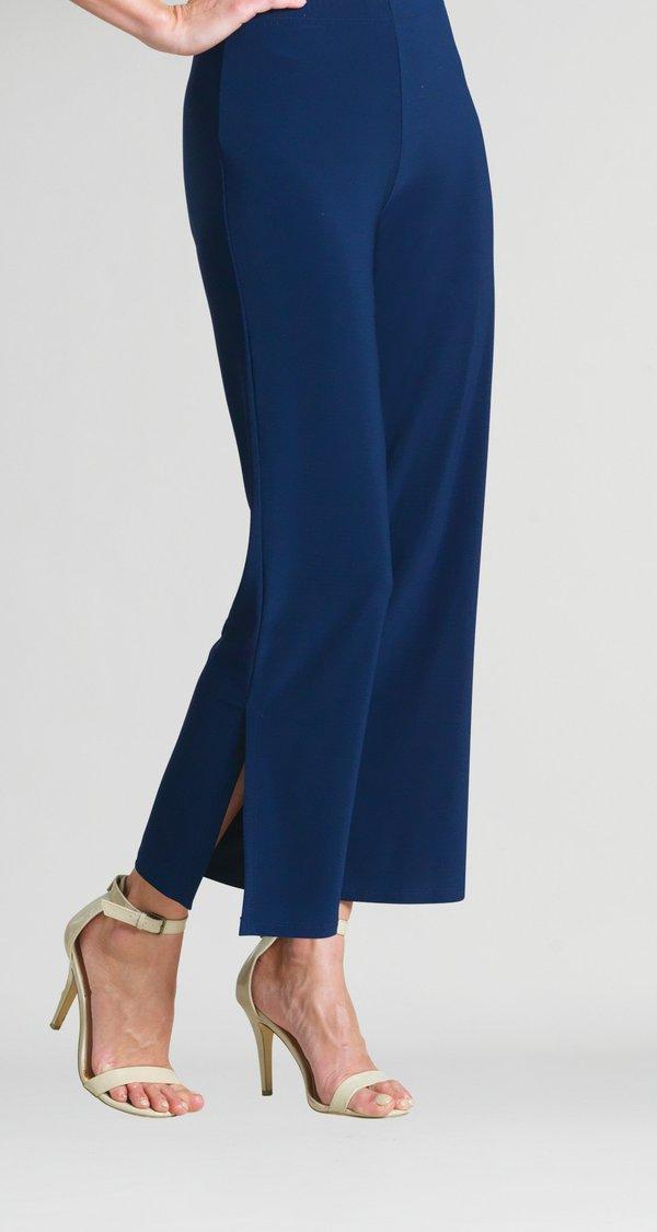 Navy Side Slit Ankle Pant