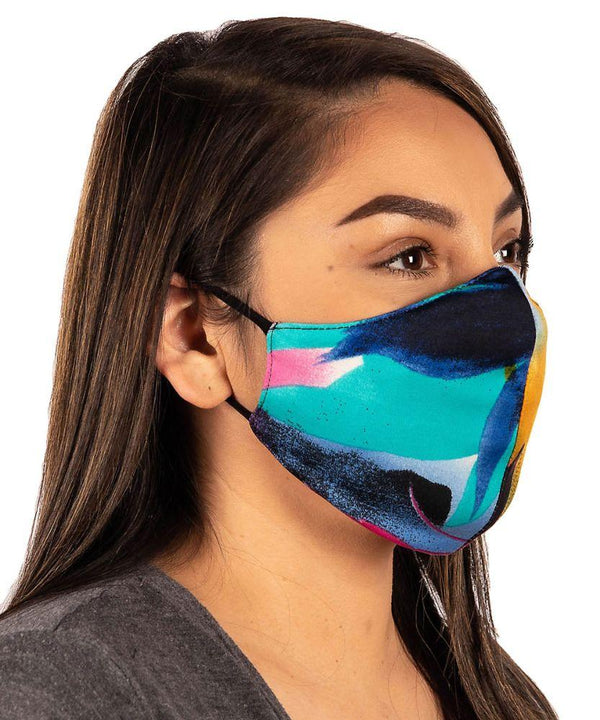 Golden Turq Watercolor Stretch Face Mask