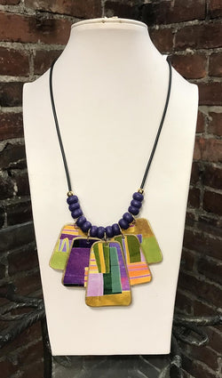 Purple Paddle Necklace