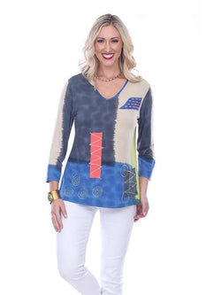 Abstract Patch Swing Tunic