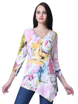 Asymmetrical Artsy Abstract Tunic