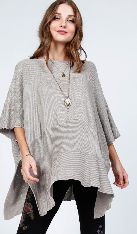 Gray Mineral Wash Poncho