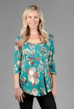 Turq Floral Swing Seamed Top