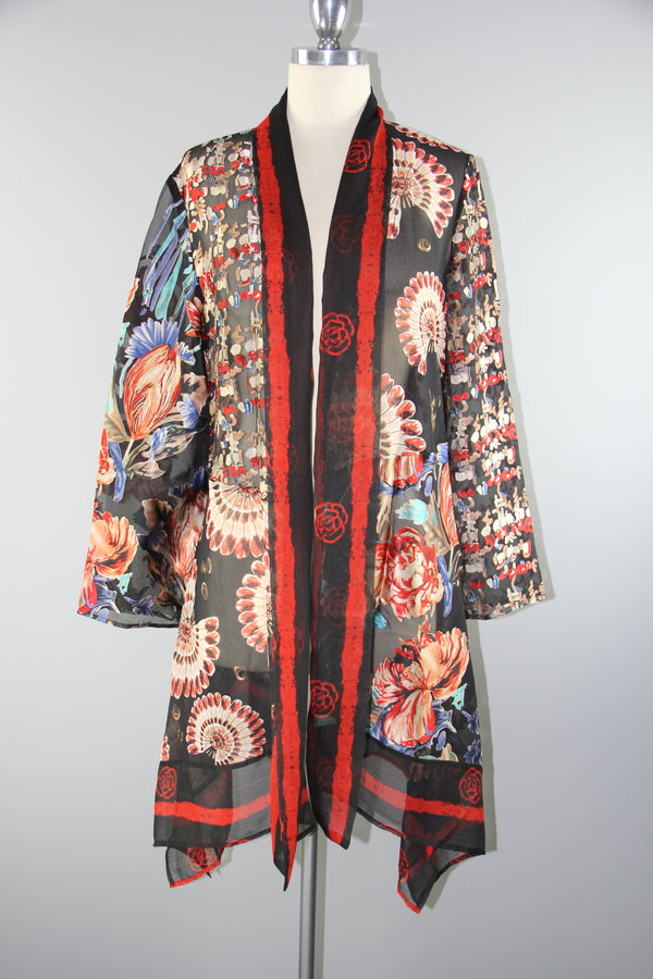 Silk Asian Floral Patch Jacket