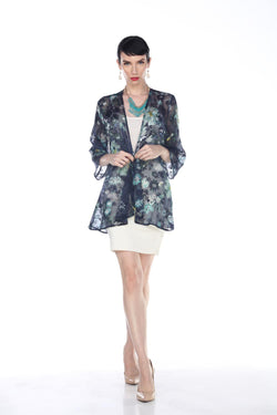 Silk Teal Floral Swing Jacket