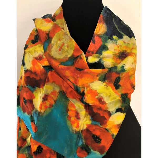Vibrant Poppies Silk Scarf