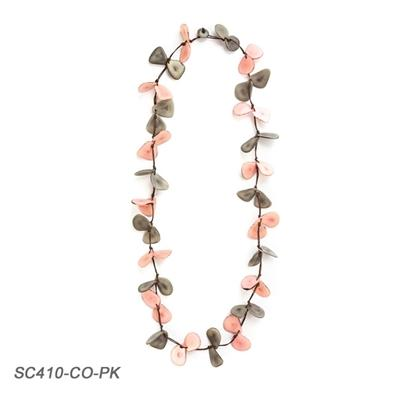 Pink & Gray Tagua Chip Necklace