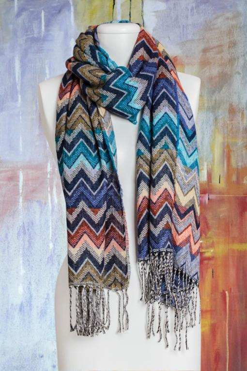 Sine Wave Teal Scarf
