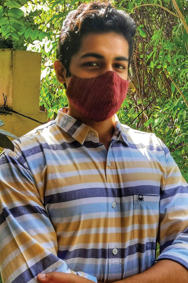 Red Handwoven Cotton Unisex Mask