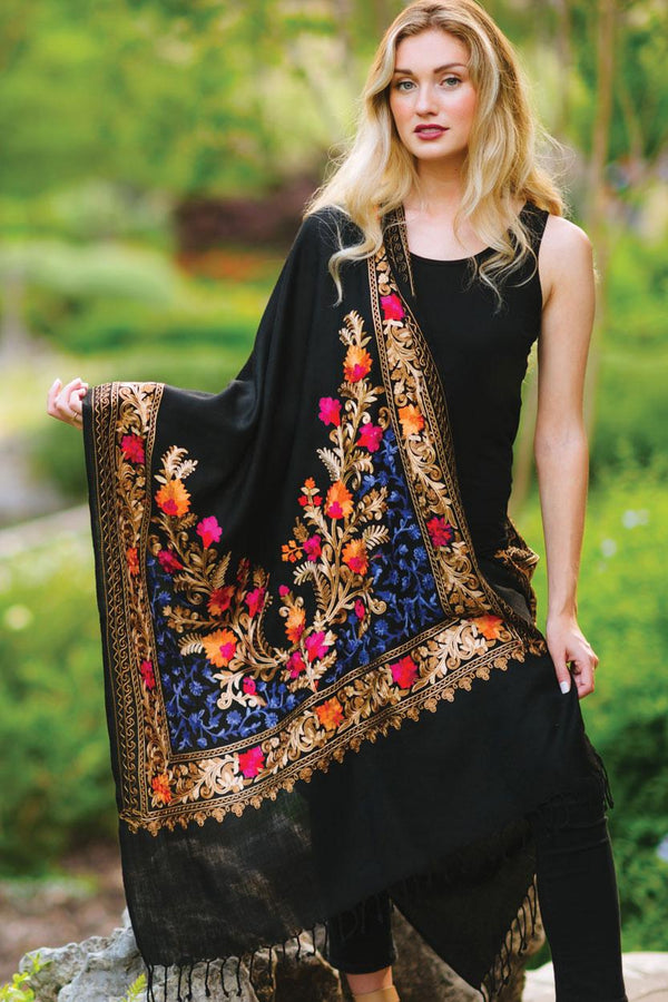Karun Embroidered Wool Shawl