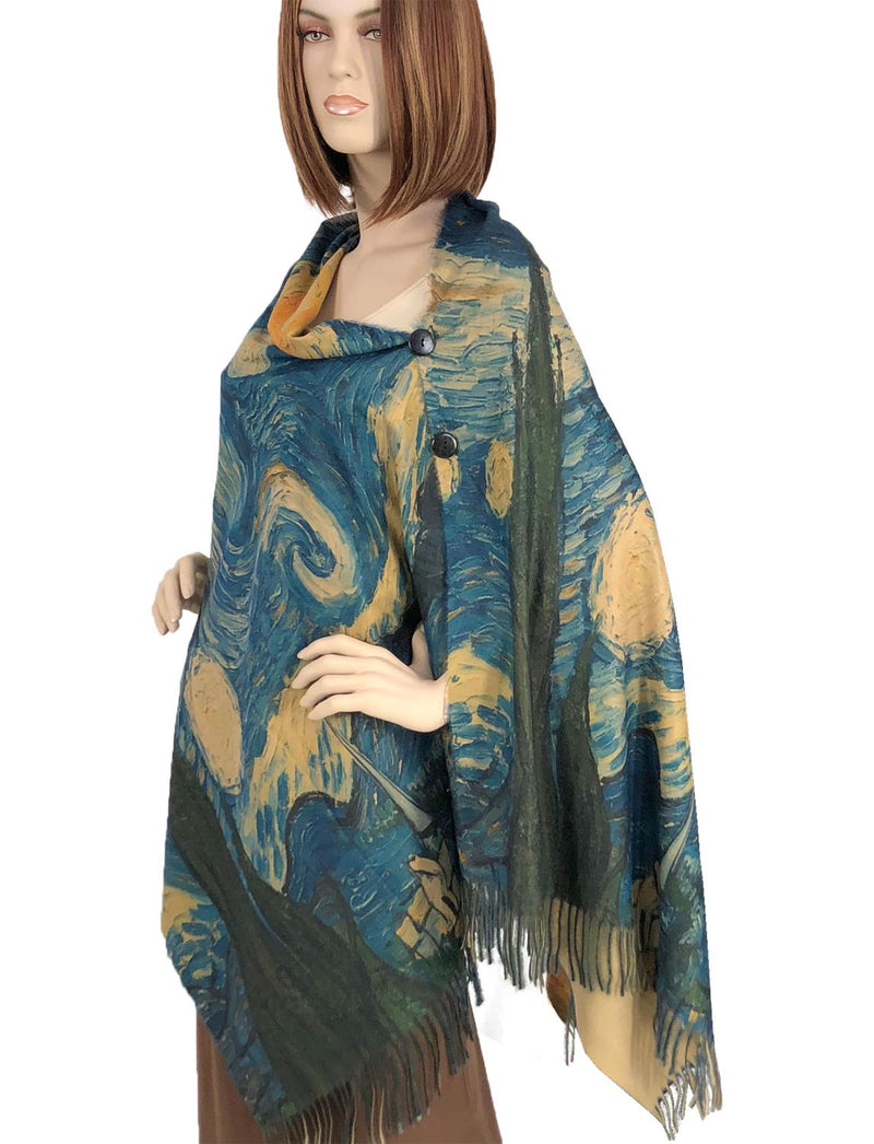Starry Night Sueded Button Shawl