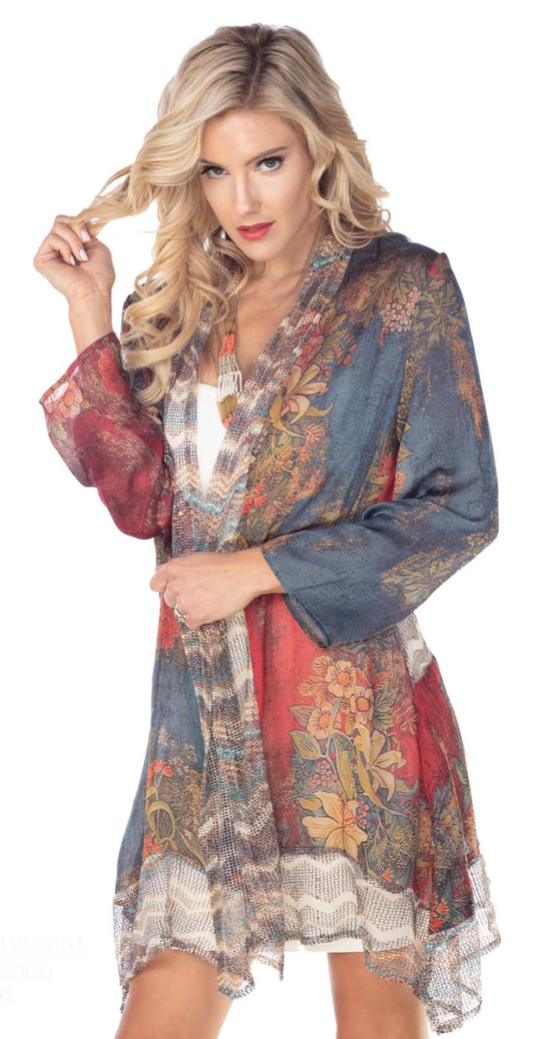 Silky Mesh Floral Jacket