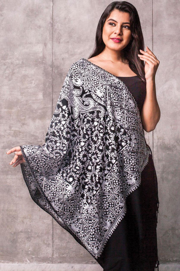 Sanika Silver Wool Shawl