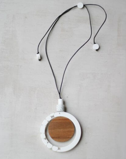 Wood & White Resin Bead Necklace