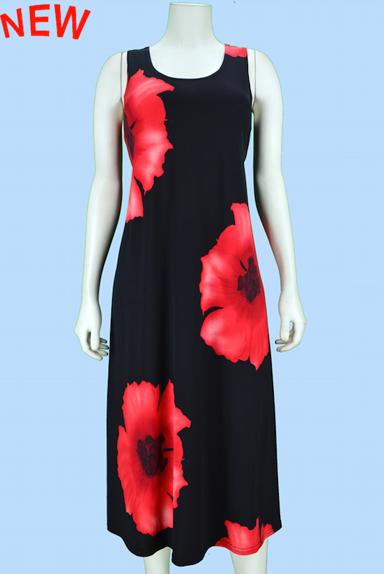 Red Poppy Midi Dress