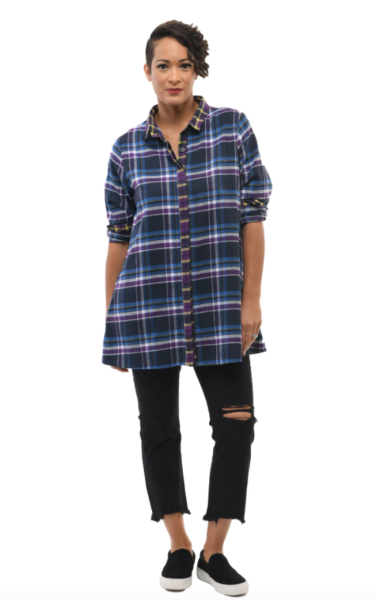 Blues Plaid Pocket Tunic