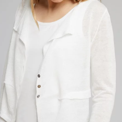 White Linen Sweater Jacket