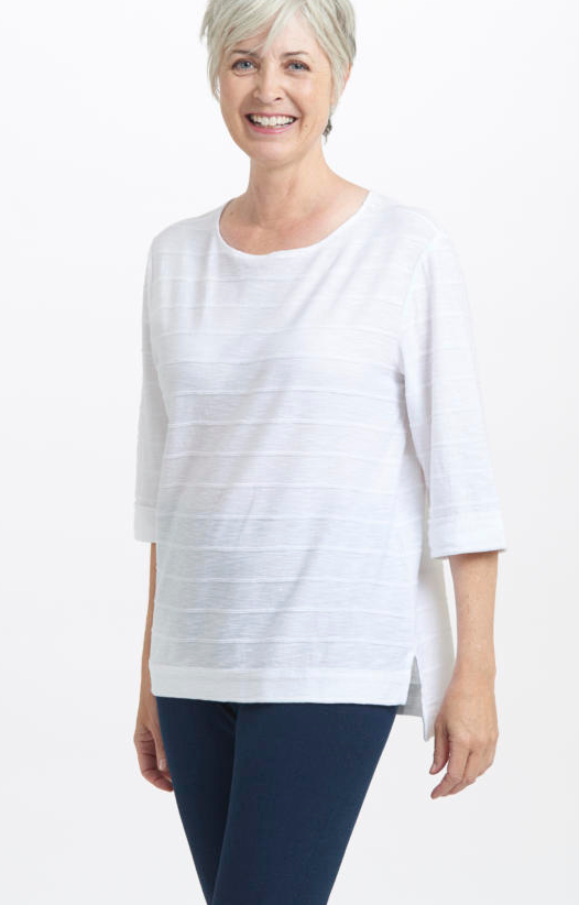 White Cotton Tuck Pleat Top