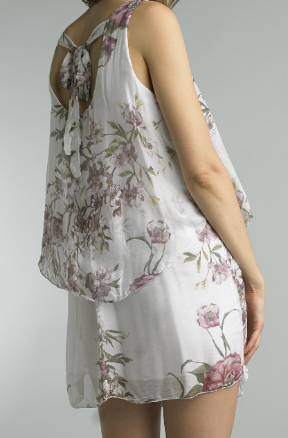 Silk Floral Tie Neck Dress