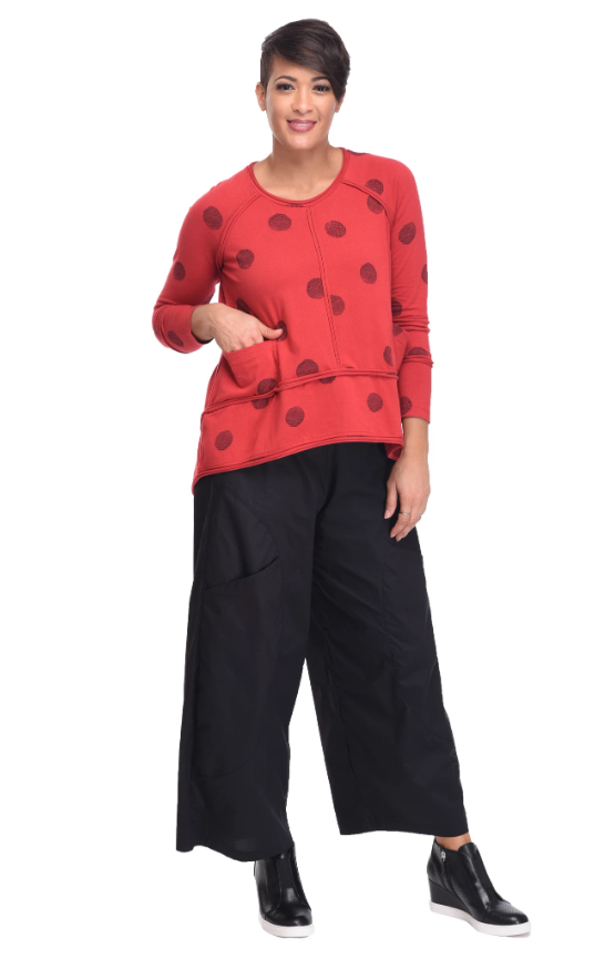 Red Thumbprint Seam Top