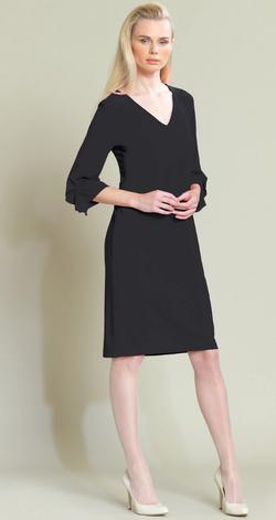 Black Ruffle Sleeve V Neck Dress