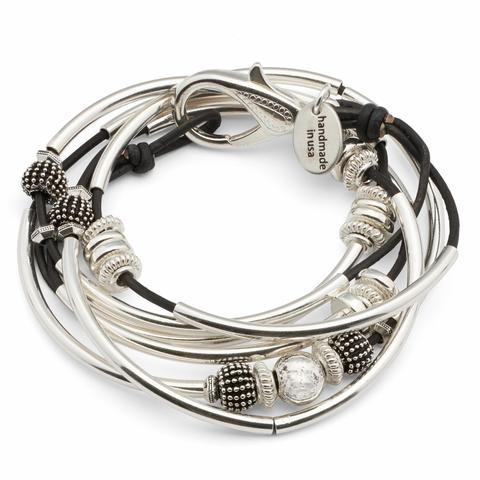 Silver & Leather Orb Wrap Bracelet