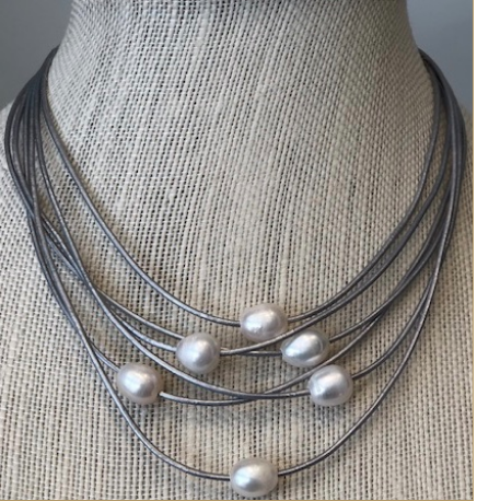 6 Silver Strand Fresh Water Pearl Necklace