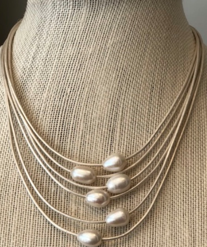6 White Strand Fresh Water Pearl Necklace