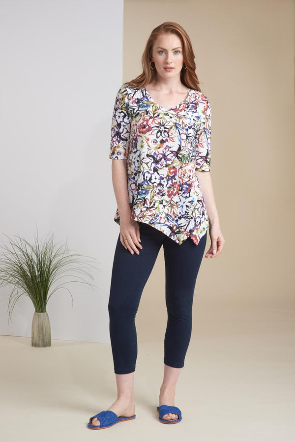 Floral Asym Cotton Tee