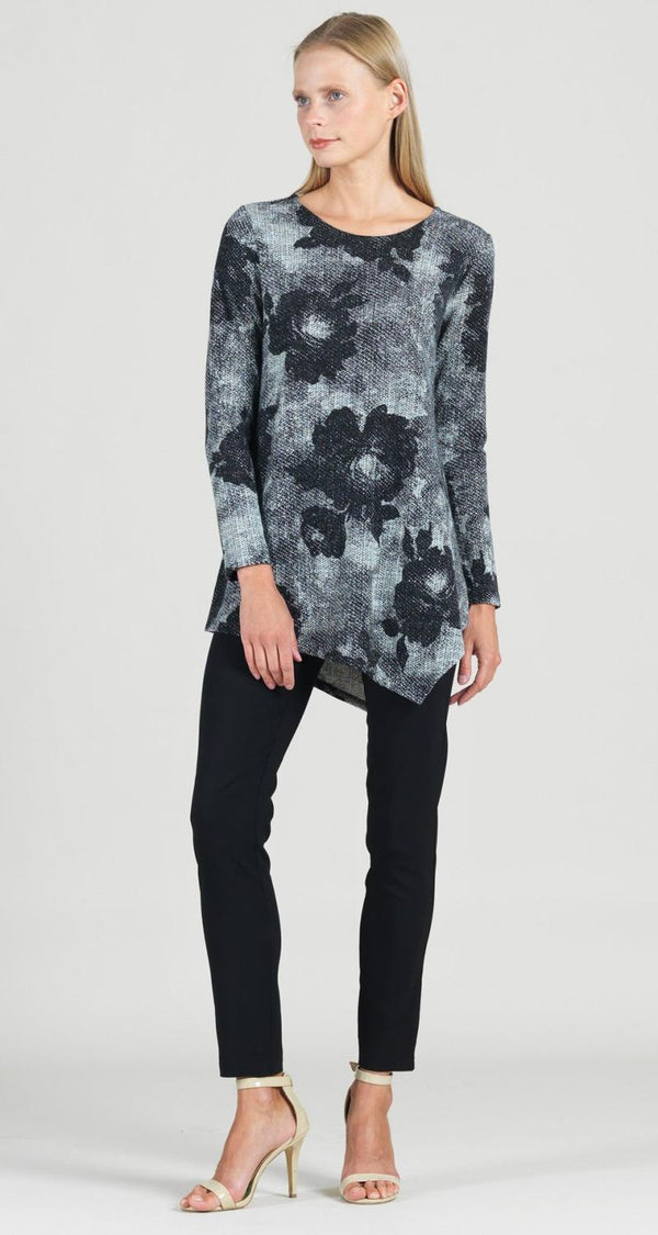 Floral Asym Sweater Tunic