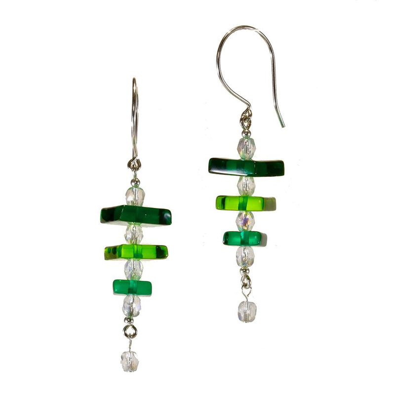 Greens Dichroic Glass Earring