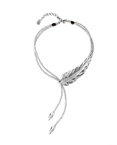 Feather Statement Silver Necklace