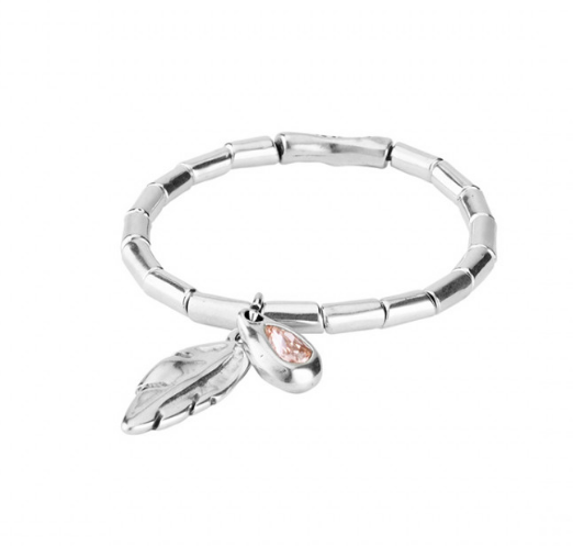 Silver Feather & Pink Crystal Bracelet