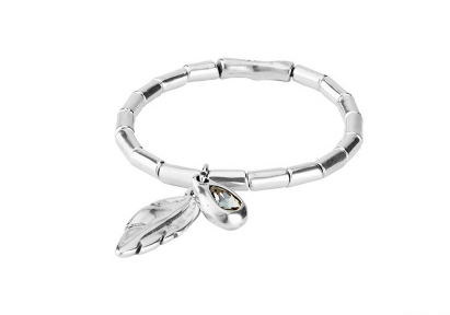 Silver Feather & Crystal Bracelet