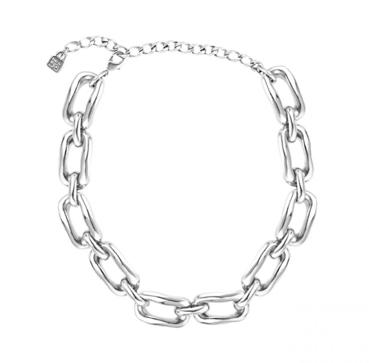Silver Rectangular Link Necklace