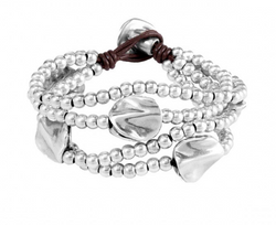 Multi Layer Silver Beaded Bracelete