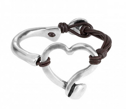 Weave Silver Heart & Leather Bracelet