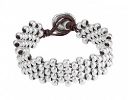 Intertwined woven silver beads bracelet