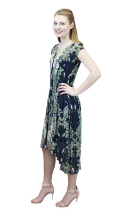 Floral Vines Navy Hi Lo Dress