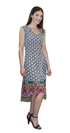 Geo Patterned Pleat Hi Lo Dress