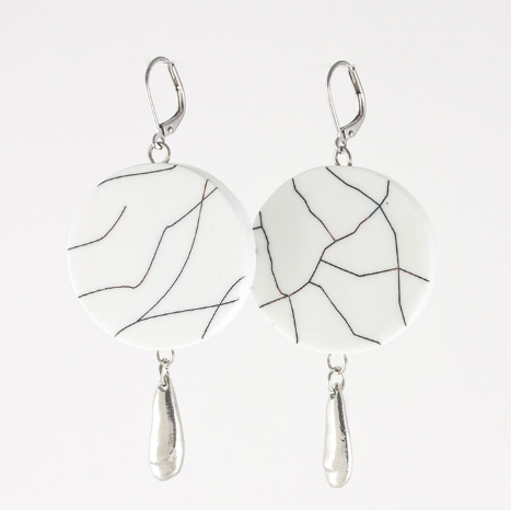 White Crackle Earring