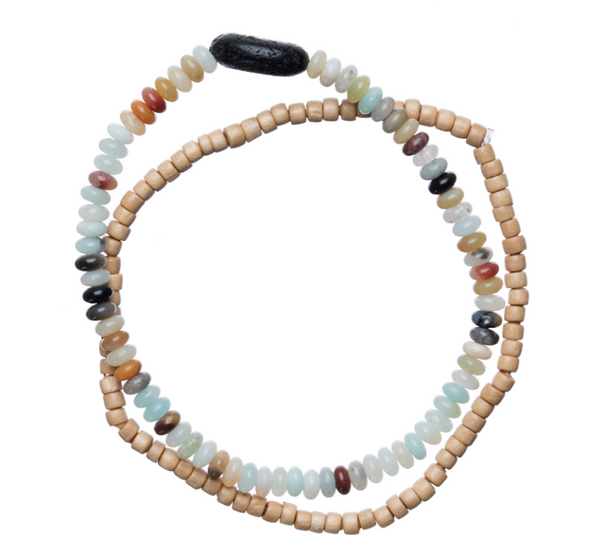 Amazonite & Wood Aromatherapy Bracelet Set