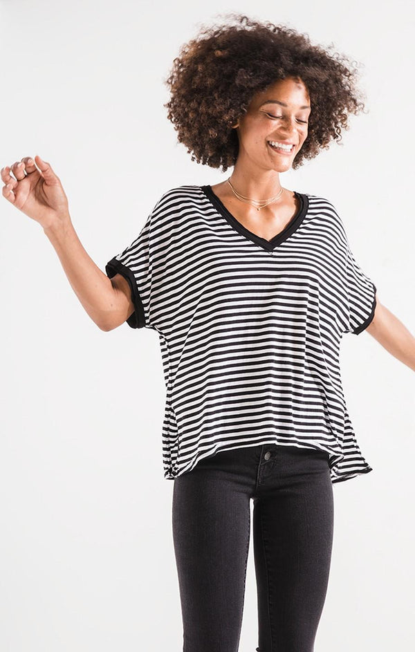 Stripe Slub V Neck Tee