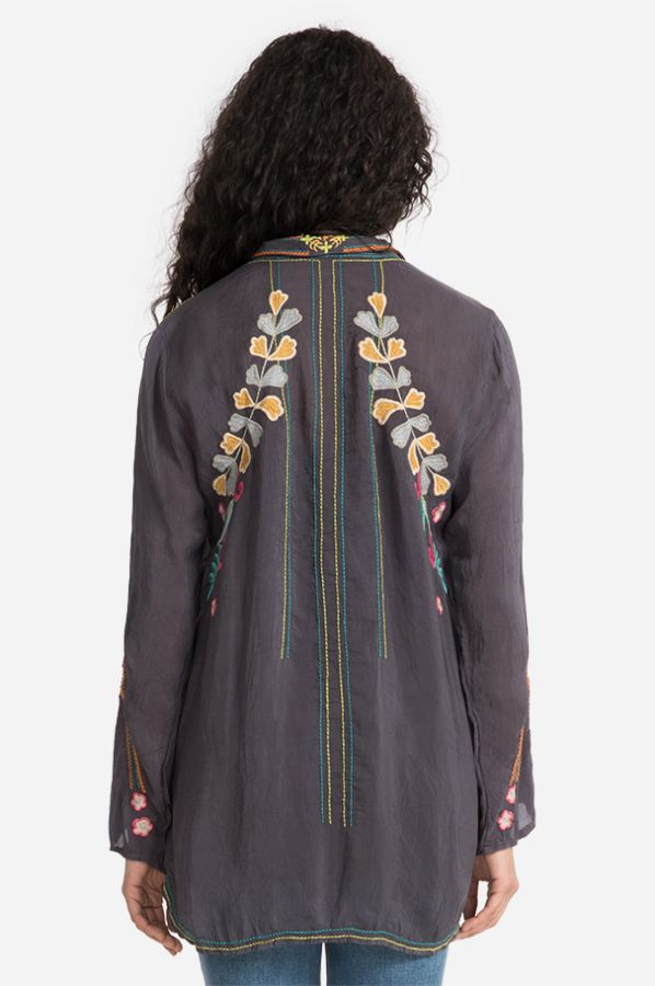 Roses Embroidered Rayon Tunic