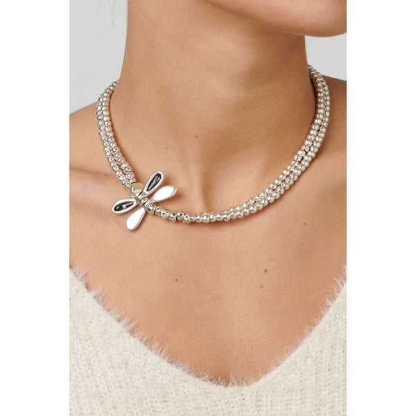 Silver & Crystal Dragonfly Necklace