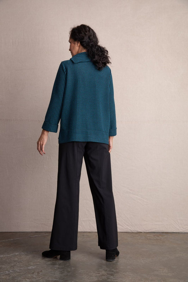 Teal Fleece Dot Pullover