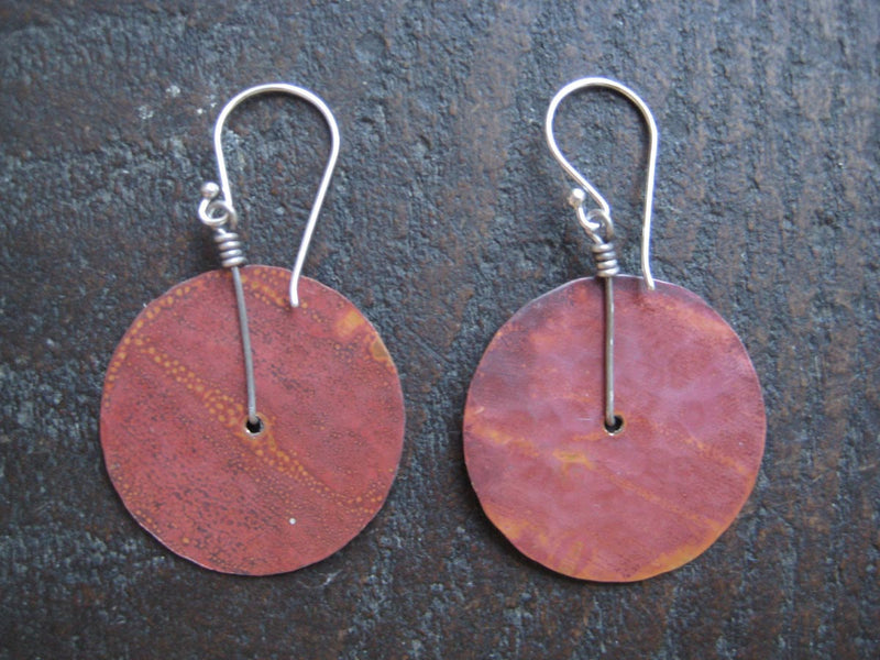 Hammered Brass Disc Earring