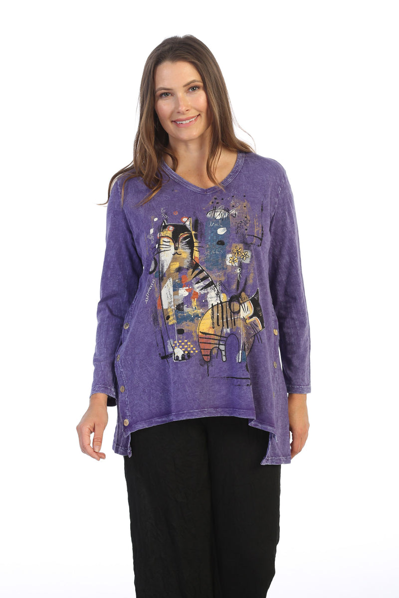 Purple Picasso Cat Tunic