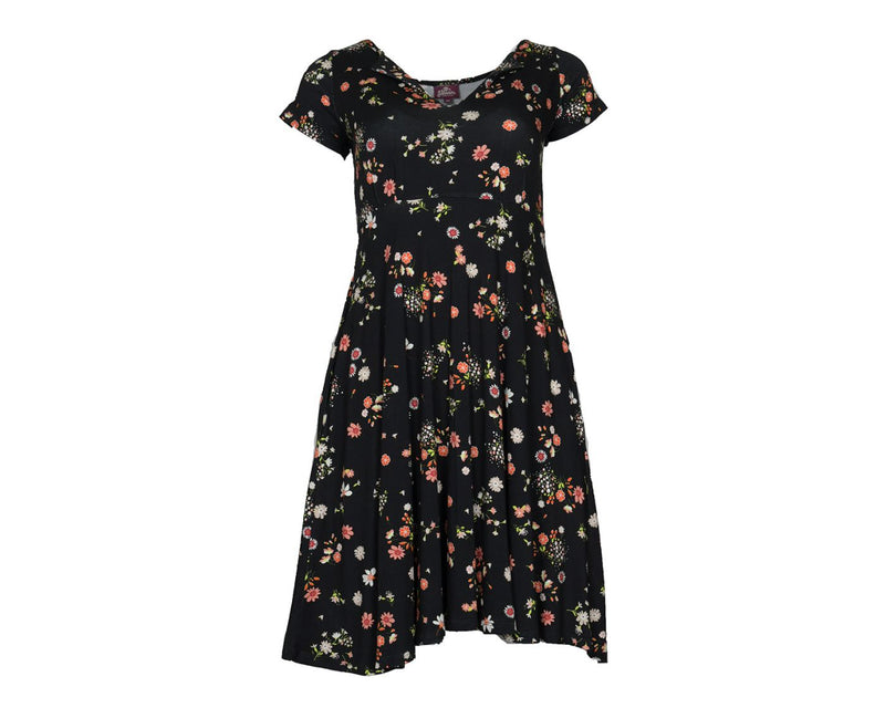 Black Floral Pocket Dress